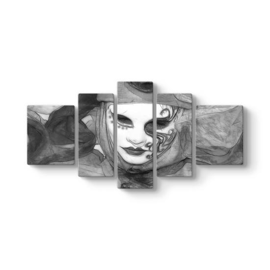 Black White Mask 5 Parçalı Tablo