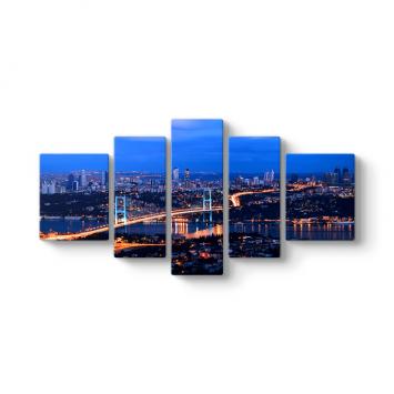 İstanbul Panorama 5 Parçalı Tablo