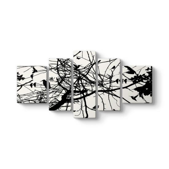 Ağaç Dalları Silüet 5 Parçalı Tablo