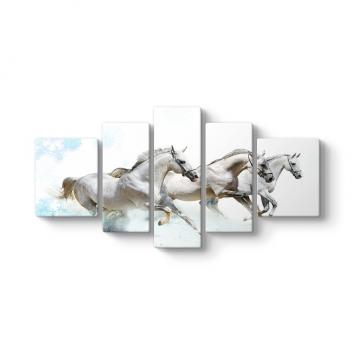 Beyaz Atlar 5 Parçalı Tablo