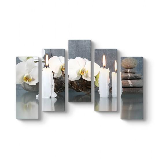 Orkideler ve Mumlar 5 Parçalı Tablo