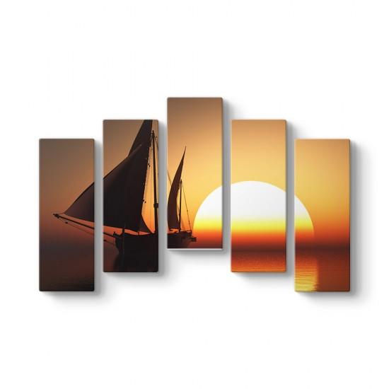 Sunset 5 Parçalı Tablo