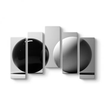 Siyah Beyaz 5 Parçalı Tablo