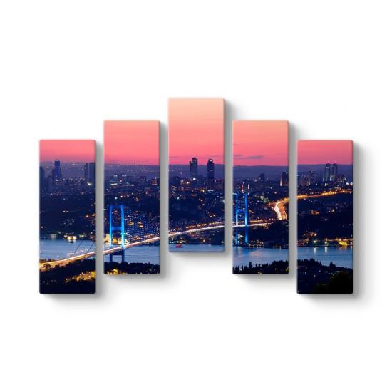 İstanbul Köprü 5 Parçalı Tablo