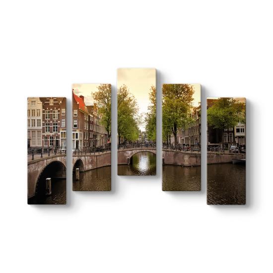 Amsterdam Kanal 5 Parçalı Tablo