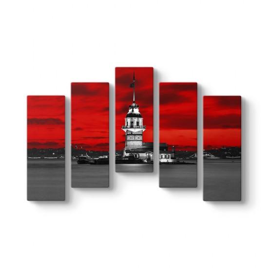 Kızkulesi Kırmızı 5 Parça Tablo