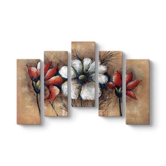 Çiçek Reprodüksiyon 5 Parçalı Tablo