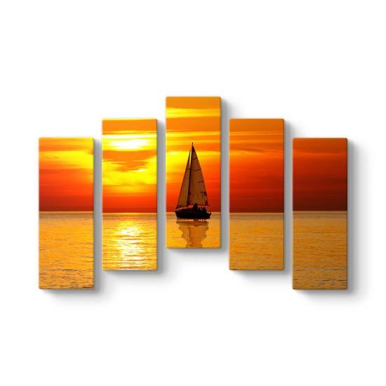 Altın Gökyüzü 5 Parçalı Tablo