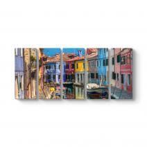 Burano Renkli Evleri Tablosu