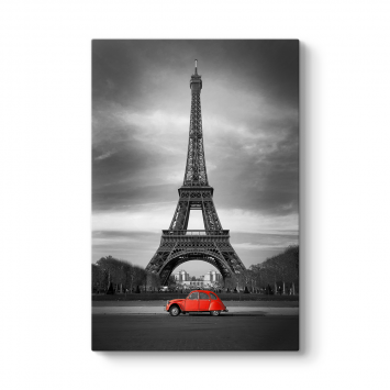 Eyfel Kulesi ve Kırmızı Araç Tablosu