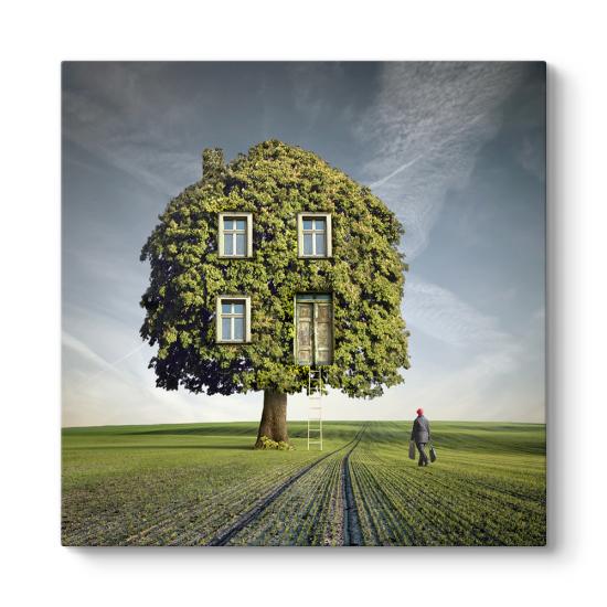Sürreal Ağaç Ev Tablo