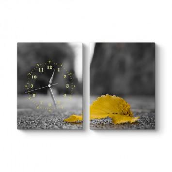 Sarı Yaprak 2 Parçalı Tablo Saat