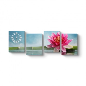 Nilüfer Çiçeği 4 Parçalı Tablo Saat