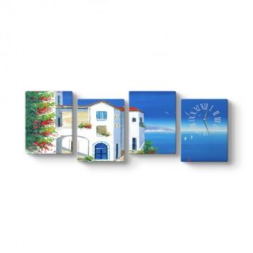 Santorini 4 Parçalı Tablo Saat