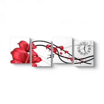 Çiçek 4 Parçalı Tablo Saat
