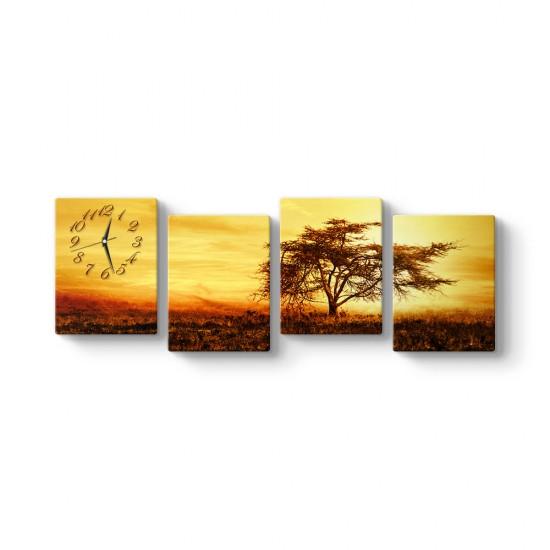Ağaç ve Günbatımı 4 Parçalı Tablo Saat