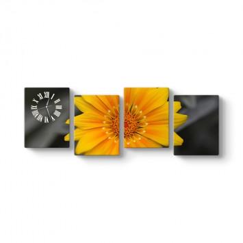 Sarı Çiçek 4 Parçalı Tablo Saat