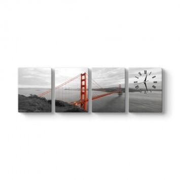 Golden Gate 4 Parçalı Tablo Saat