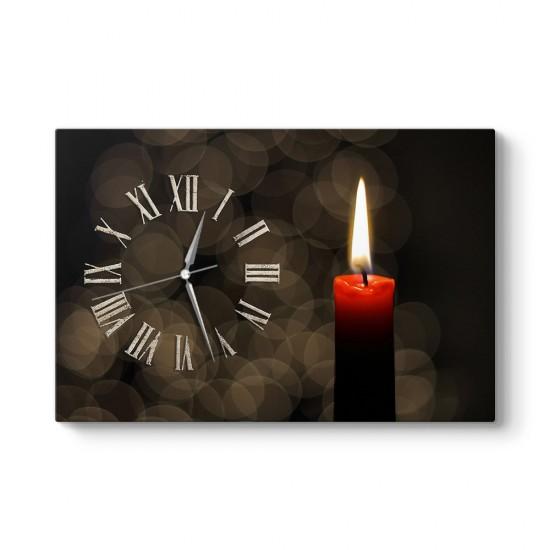 Kırmızı Mum Tablo Saat