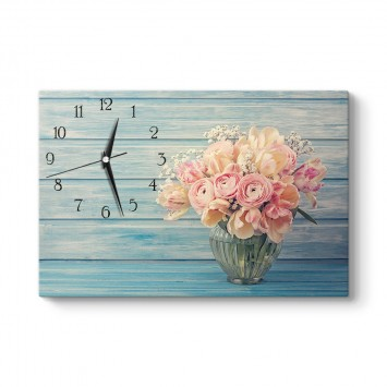 Retro Çiçekler Tablo Saat