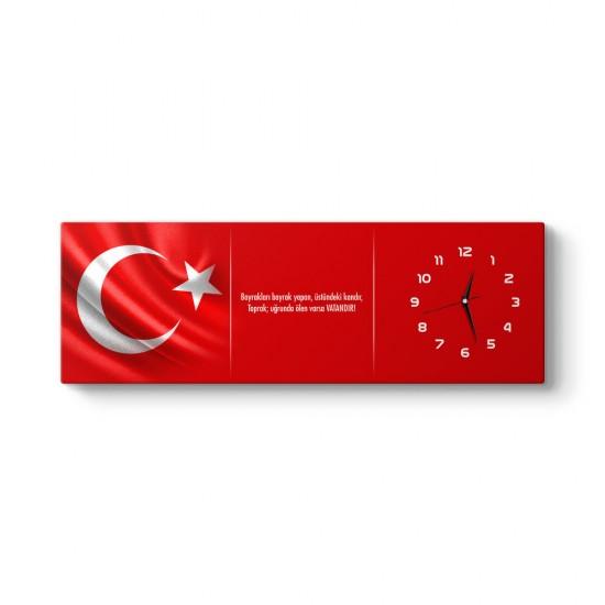 Türk Bayrağı Tablo Saat
