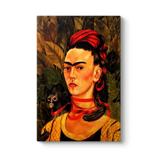 Frida Kahlo - Self Portrait with Monkey Tablosu