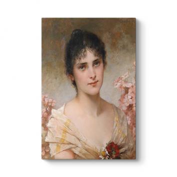 Conrad Kiesel - Girl with Flowers Tablosu