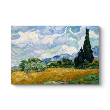 Vincent Van Gogh - Selvi Ağaçlı Buğday Tarlası Tablosu