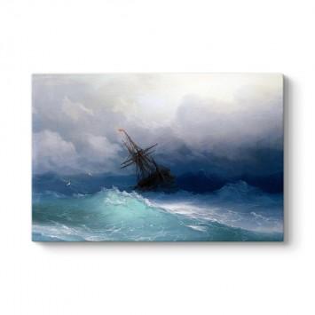 Ivan Ayvazovski - Fırtınalı Denizde Gemi Tablosu