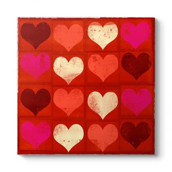 Kırmızı Kalpler Kolaj Tablo