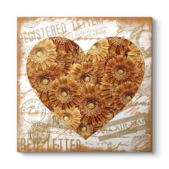 Retro Kalp Çiçekler Tablosu