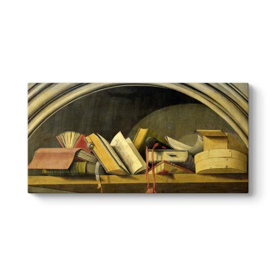 Barthelemy d' Eyck - Still Life With Books in a Niche Tablosu