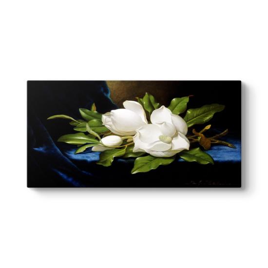 Martin Johnson Heade - Giant Magnolias on a Blue Velvet Cloth Tablosu