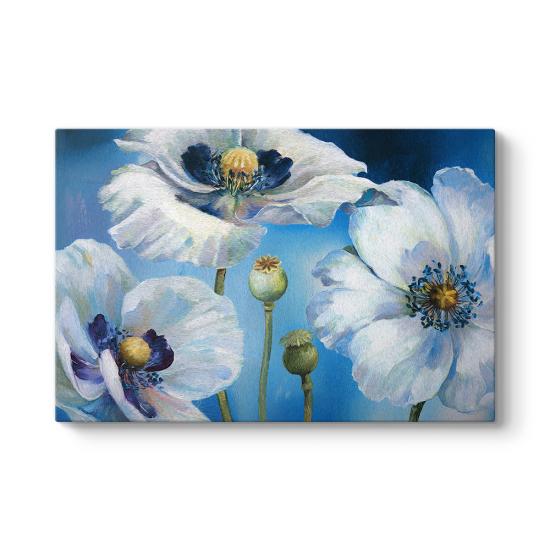 Mavi Zeminli Beyaz Çiçekler Tablosu