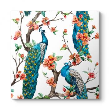 Çiçekli Dallarda Tavus Kuşları Tablosu