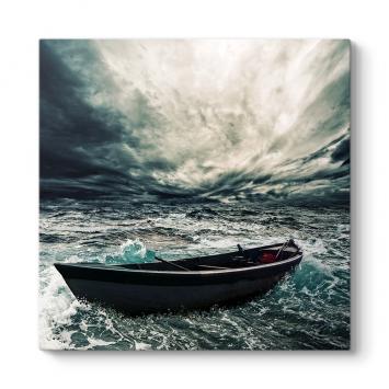 Hırçın Denizde Kayık Tablosu