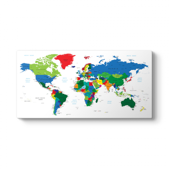 Renkli Dünya Haritası Tablosu