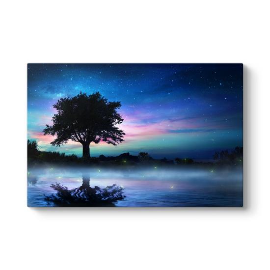 Yıldızlı Gecede Yalnız Ağaç Tablosu