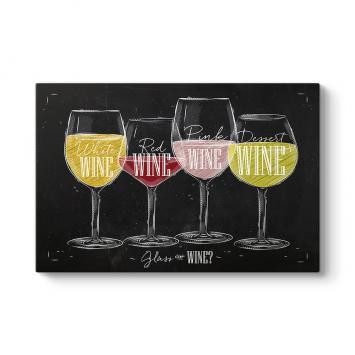 Şarap Çeşitleri Kanvas Tablo