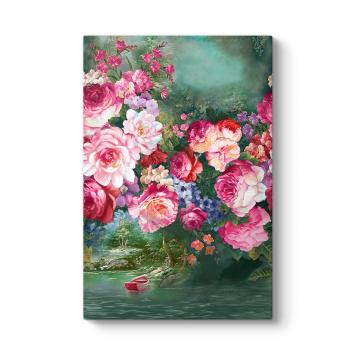 Çiçekler ve Göl Manzarası Tablosu