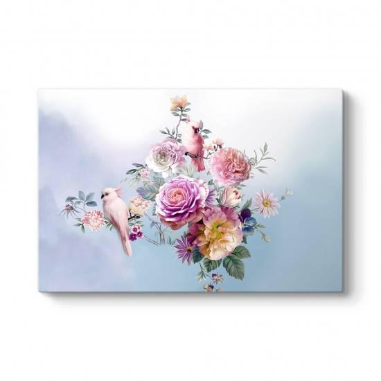 Çiçekler Ve Papağanlar Tablosu