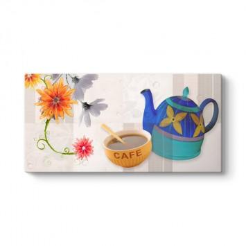 Çiçekli Kahve Fincanı Tablosu