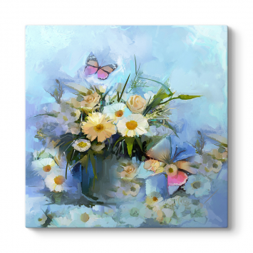 Kelebek ve Çiçek Buketi Tablosu