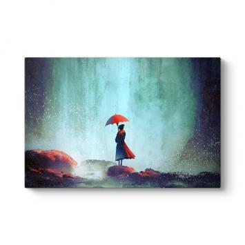 Kırmızı Şemsiyeli Kız Tablosu
