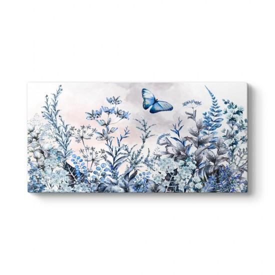 Mavi Kelebek ve Çiçekler Tablosu