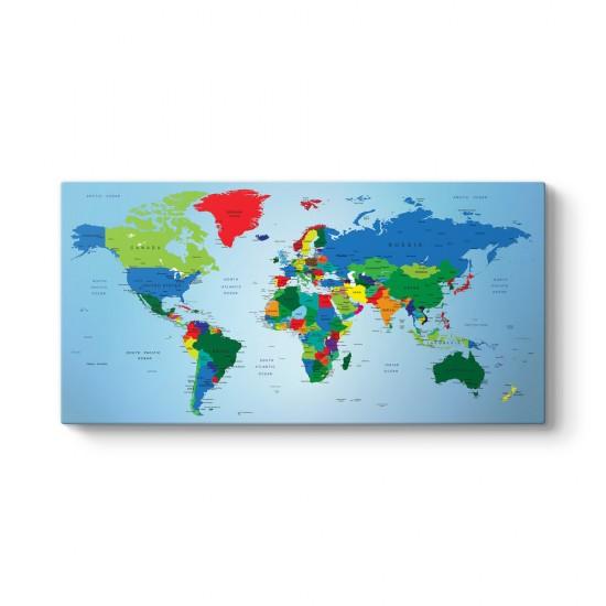 Mavi Zeminli Dünya Haritası