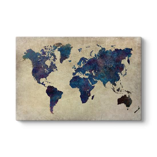 Soyut Dünya Haritası Kanvas Tablo