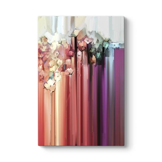 Soyut Pembe Renkli Çiçekler Tablosu