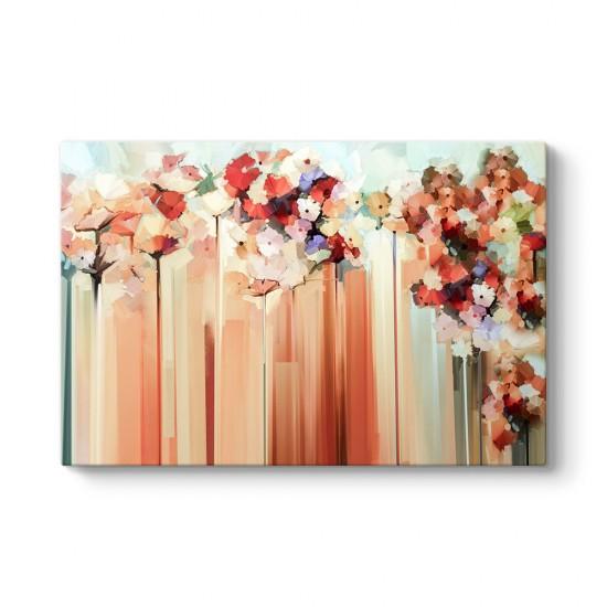 Soyut Renkli Çiçekler Duvar Tablosu