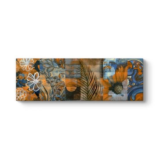 Turuncu Çiçekler Kolaj Tablosu